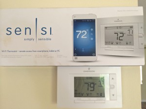 Wi-fi smart thermostat with phone app.
